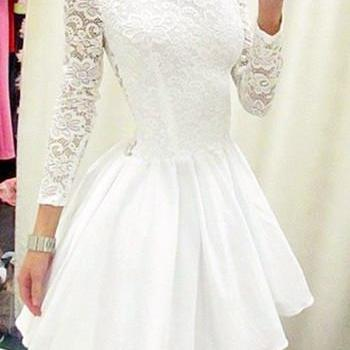 White Homecoming Dress,Cute Prom Dr..