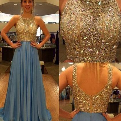 Blue Prom Dress With Sequins,Luxuri..