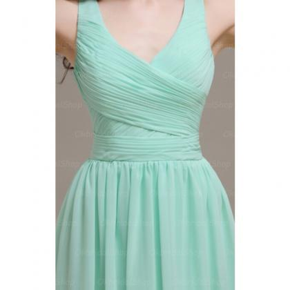 Mint Chiffon Ruched Plunge V Sleeve..