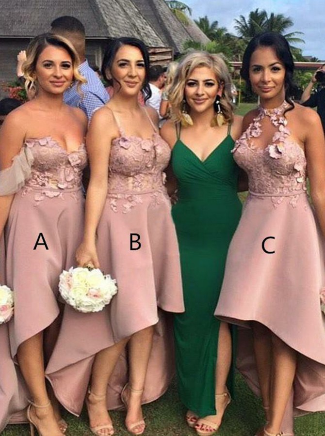 Bridesmaid Dresses A-Line, Appliques Party Dresses, Blush Bridesmaid Dresses, High Low Bridesmaid Dresses BOHO429248