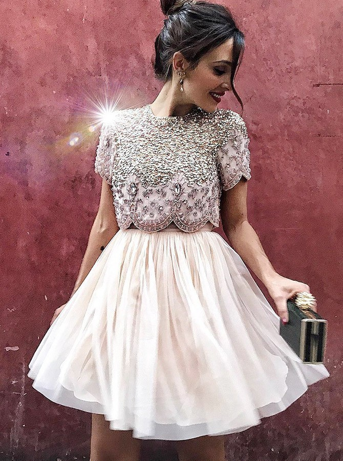 Champagne Party Dresses, Two Pieces Party Dresses BOHO4291227