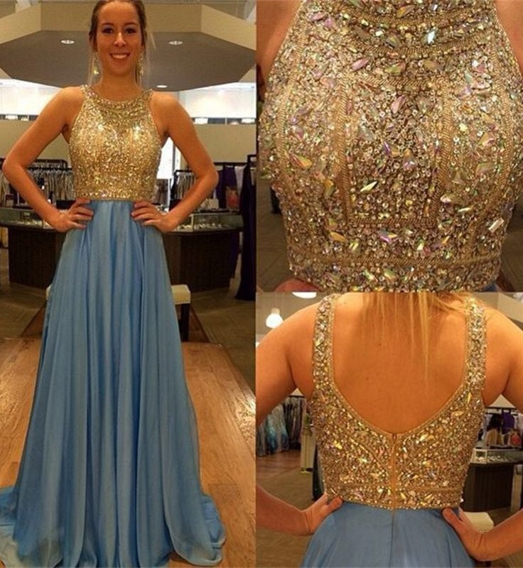 Blue Prom Dress With Sequins,Luxurious A-line Prom Gown,Crew Neck Evening Dress,Sweep Train Prom Dress with Sequins