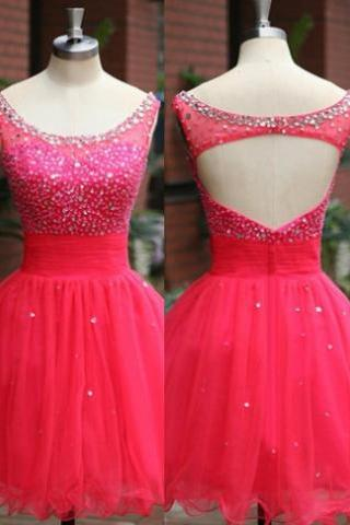 2017 A-line Homecoming Dresses Sleeveless Jewel Short/Mini Beading Discount Zipper Dresses
