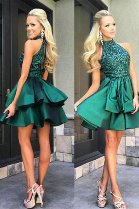 2017 A-line Homecoming Dresses Sleeveless Short/Mini Beading On Sale Dresses