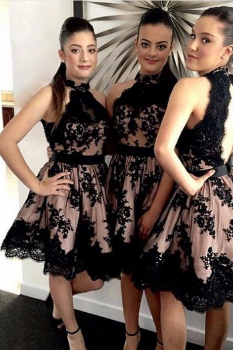 2017 A-line Homecoming Dresses Sleeveless Halter Short/Mini Lace Cheap Side Zipper Dresses