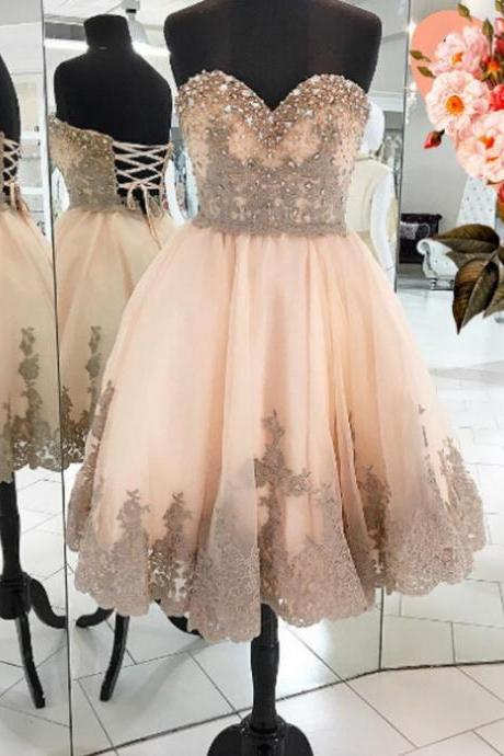 2017 A-line Homecoming Dresses Sleeveless Sweetheart Ankle-Length Applique Sale Lace Up Dresses