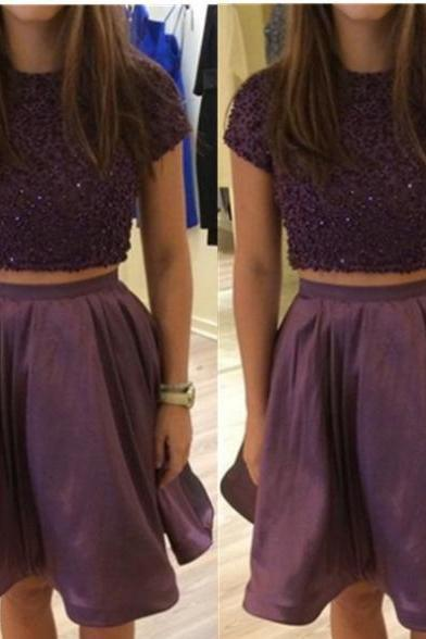 2017 A-line Homecoming Dresses Short Sleeves Round Short/Mini Sequin Customized Zipper Dresses