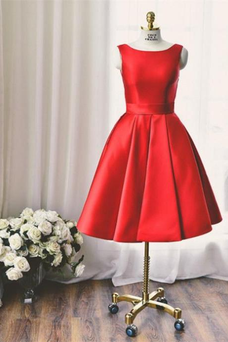 Short A-line Homecoming Dresses Sleeveless Bateau Short/Mini Bowknot Customized Dresses
