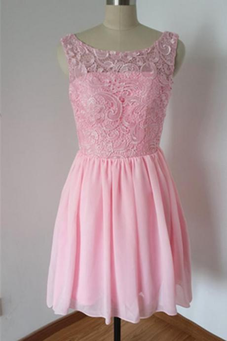 Girly Cute Pink Lace Chiffon Handmade Short Homecoming Dresses K330
