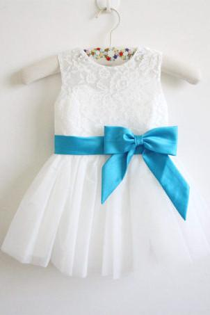 Light Ivory Blue Ribbon Lace Tulle Flower Girl Dress With Blue Sash\/Bows OK209