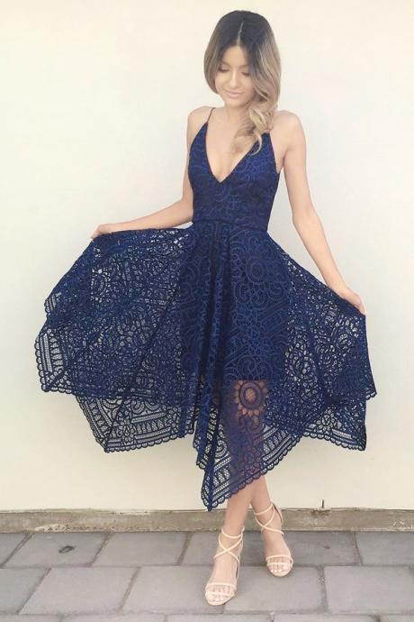 Customisable Navy Plunging V-Neckline A-Line Asymmetrical Lace Bridesmaid Dresses