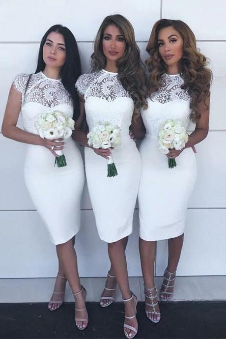 Bridesmaid Dress Lace, White Bridesmaid Dress, Lace White Party Dress BOHO42971