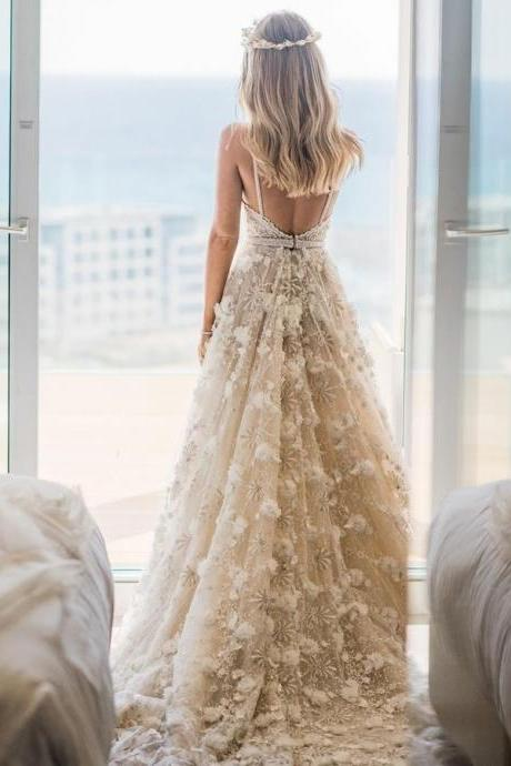 White Lace Party Dresses, Lace Party Dresses, Party Dresses With Appliques, Backless Wedding Dress BOHO429162
