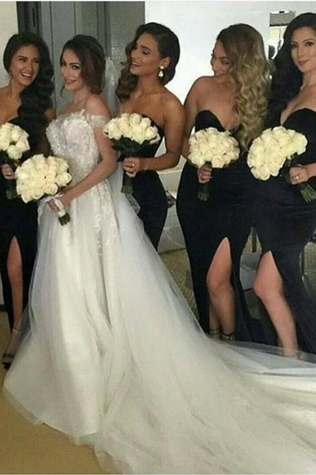 Mermaid Party Dresses, Black Mermaid Bridesmaid Dresses, Black Bridesmaid Dresses BOHO429241