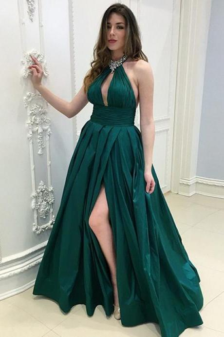 A-Line Party Dress, Party Dress Long, Party Dress Green, Party Dress Backless BOHO429846