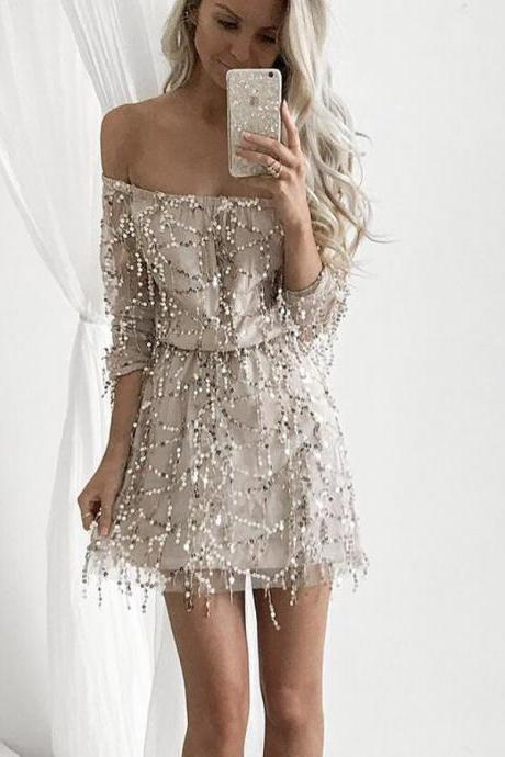 Champagne Homecoming Dress, Party Dress A-Line BOHO4291224