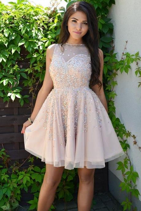 Party Dress A-Line, Sleeveless Party Dress, Champagne Party Dress BOHO4291226