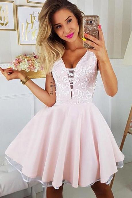 V-Neck Homecoming Dress, Homecoming Dress Pink, Party Dresses A-Line, Party Dresses Lace BOHO4291228