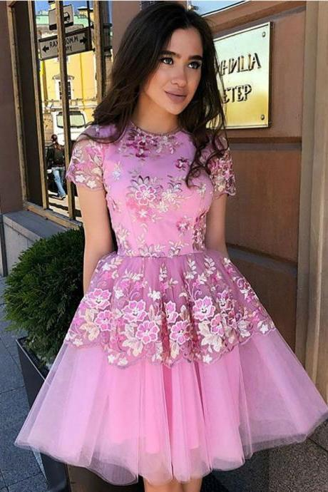 Homecoming Dresses Lace, A-Line Party Dresses, Party Dresses With Appliques BOHO4291229