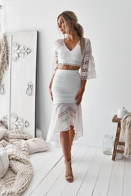 Lace Homecoming Dresses, Party Dresses Two Piece, V Neck Homecoming Dresses, White Party Dresses BOHO4291234