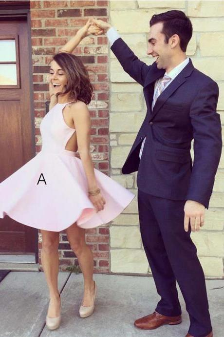 Pink Homecoming Dress, Homecoming Dress Backless, Homecoming Dress A-Line BOHO4291239