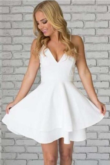 Party Dresses A-Line, Homecoming Dress Lace, Lace White Homecoming Dress, White Party Dresses BOHO4291240