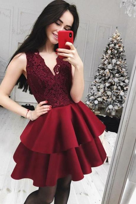 Homecoming Dresses A-Line, Lace Homecoming Dresses, V-Neck Homecoming Dresses, Burgundy Party Dresses BOHO4291245