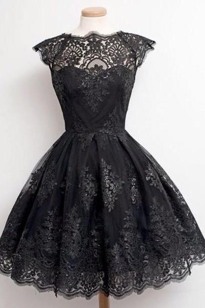 Lace Homecoming Dress,Lace Short Prom Dress,Black Cute Homecoming Gowns,Sweet 16 Dress