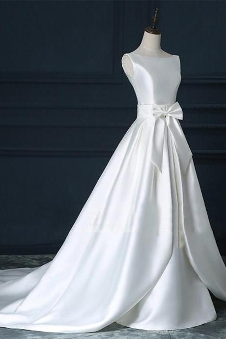 Satin Wedding Dresses,A-line Bridal Dresses,Scoop Court Train Backless Bowknot Ruched Bridal Dresses,Zipper-up Wedding Dresses