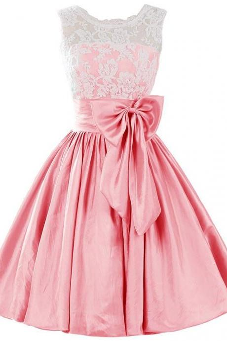 Pink Homecoming Dresses,Cute A-line Homecoming Gowns,Scoop Short Satin Homecoming Dress With Bowknot Lace