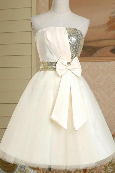 Homecoming Dress With Bowknot Sequins,A-line Strapless Short Homecoming Gowns,Satin Homecoming Dress