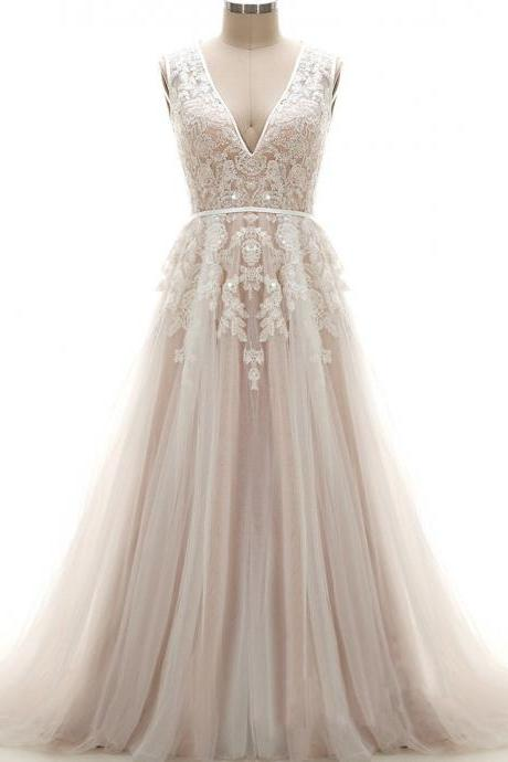 Floor Length A-Line Tulle Wedding Gown Featuring Sleeveless Plunging Neck Lace Appliqué Bodice with Sequin Embellishment, Open Back and Chapel Train