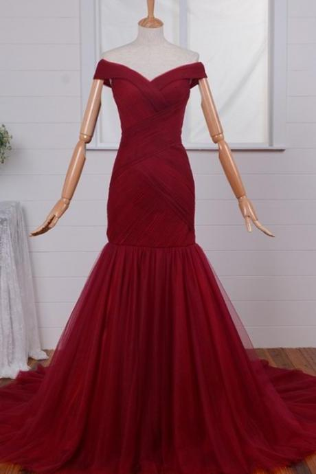Mermaid Prom Dresses,Dark Red Evening Dress,Off-the-Shoulder Prom Gown,Court Train Ruched Dress,Tulle Prom Dress,Zipper-up Party Dress