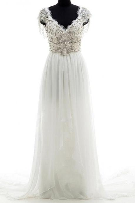 V-neck Wedding Dress,Chapel Train Wedding Dress,Chiffon Bridal Dress,Appliques Beading Wedding Dresses,Sleeveless Backless Wedding Dress