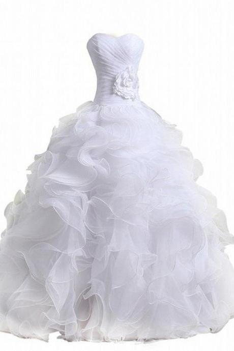 White Ball Gown Wedding Dresses,Sweetheart Bridal Dress,Sweep Train Bridal Dresses,White Oraganza Ruffled Wedding Dresses