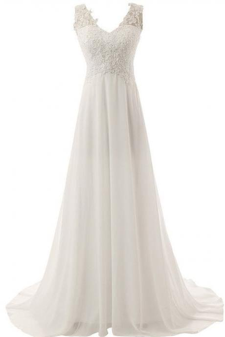 A-line Wedding Dresses,V-neck Sweep Train Wedding Dress,Chiffon Bridal Dress,Ivory Bridal Dress,Beaded Wedding Dress With Appliques