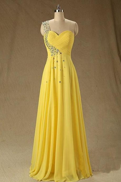 Sexy A-Line Bridesmaid Dress,One Shoulder Bridesmaid Dresses,Floor Length Yellow Bridesmaid Dress with Crystal,Sexy Prom Dress