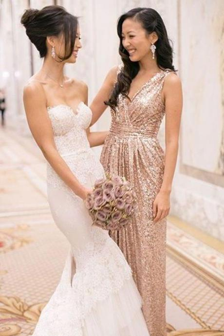 Beautiful Sequined Bridesmaid Dress,A-Line Prom Dress,V-Neck Floor Length Gold Bridesmaid Dress with Sequins,Gold Evening Dress,Floor Length Party Dress