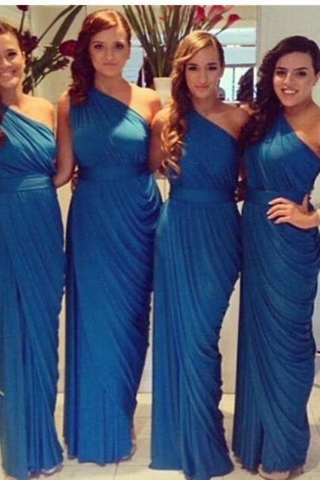Sexy Sheath Bridesmaid Dress,One Shoulder Bridesmaid Dress,Floor Length Bridesmaid Dress,Royal Blue Bridesmaid Dresses with Ruffles