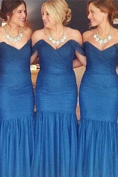 Charming Mermaid Bridesmaid Dress,Royal Blue Backless Bridesmaid Dress,Off-the-Shoulder Floor Length Ruffles Bridesmaid Dresses,Chiffon Mermaid Prom Dress