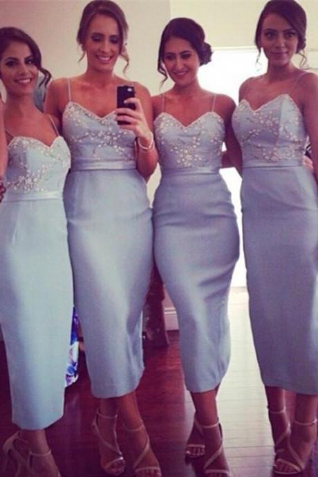 Spaghetti Straps Bridesmaid Dresses,Sexy Sheath Bridesmaid Dress,Light Blue Bridesmaid Dress,Satin Prom Dress with Beading,Tea-length Backless Bridesmaid Dress