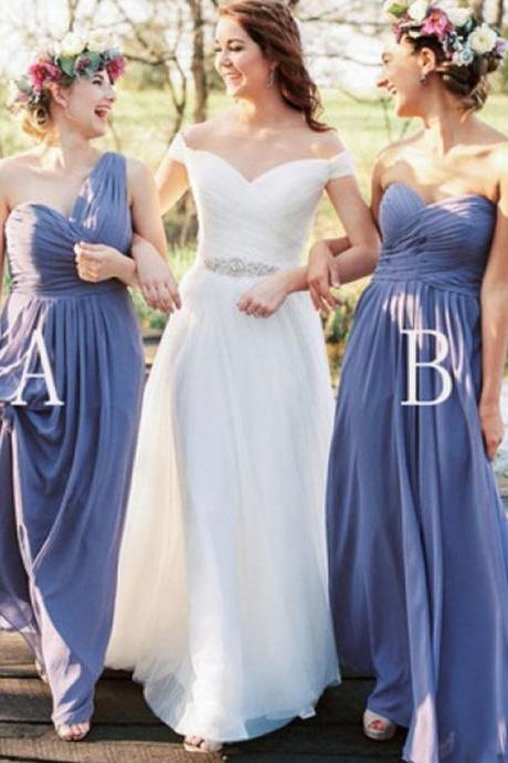Exquisite Sheath Bridesmaid Dresses,One Shoulder Chiffon Bridesmaid Dress,Floor Length Lavender Bridesmaid Dress with Ruffles,Sweetheart Backless Bridesmaid Dress