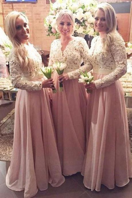 Long Sleeves Bridesmaid Dress,Pink Elegant Sheath Bridesmaid Dress,V-Neck Floor Length Bridesmaid Dress,Chiffon Prom Gown