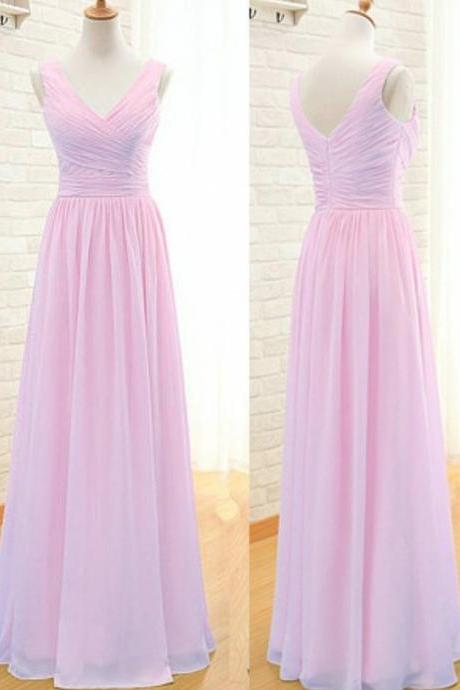 V-Neck Bridesmaid Dress,Sexy Bridesmaid Dress,Simple A-Line Prom Dress,Floor Length Prom Dress,Pink Bridesmaid Dress with Ruched