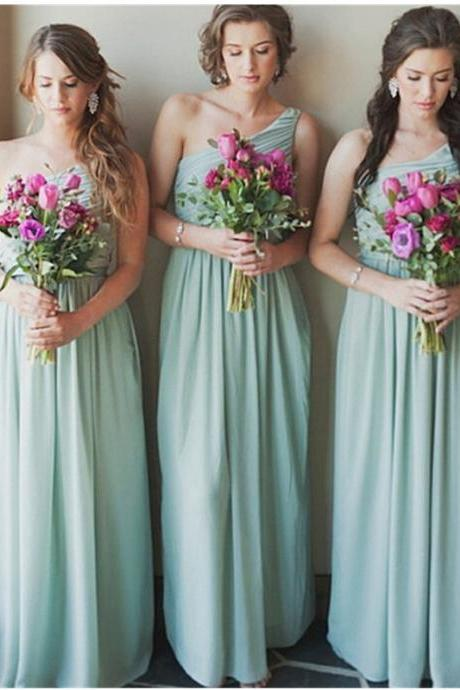 Fashion A-Line Bridesmaid Dress,Chiffon Bridesmaid Dresses,One Shoulder Bridesmaid Dress,Floor Length Blue Bridesmaid Dress with Ruched,Sleeveless Prom Dress