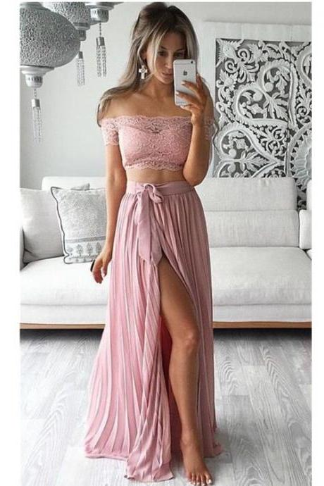 Two Piece Prom Dresses,Chiffon Prom Dress,Lace Top Off the Shoulder Prom Gown,Short Sleeves Prom Dress,Thigh-High Slit Sexy Evening Gowns
