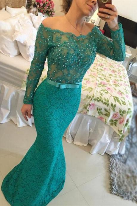 Lace Prom Dresses with Beading,Mermaid Prom Dress,Sexy Formal Dresses,Dark Green Bateau Neck Dresses,Long Sleeves Formal Dresses,Floor Length Evening Dress
