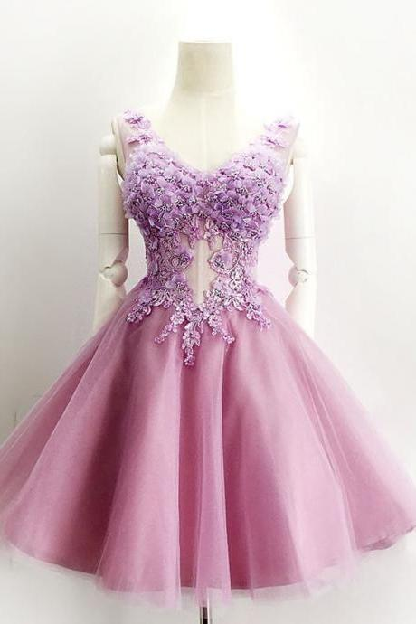 Ball Gown Homecoming Dress,V-neck Short Homecoming Gown,Purple Prom Dress,Lace-up Organza Evening Dress,Homecoming Dress With Appliques Beading