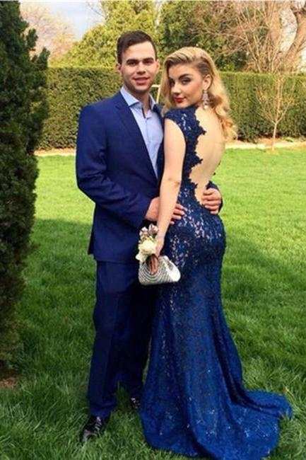 Sexy Formal Dress,Mermaid Evening Dress,Navy Blue Open Back V-Neck Floor Length Prom Dresses,Cap Sleeves Lace Party Dresses