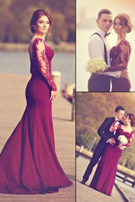Mermaid Prom Dresses,Burgundy Formal Dress,Long Sleeves Evening Dresses,Sweetheart Party Dresses,Sweep Train Appliques Prom Dresses